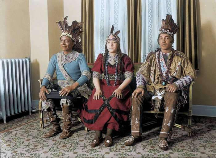 Фото коренных американцев 1920-х годов в цвете (13 фото)