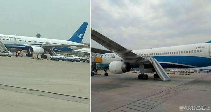 Китаянка из любопытства открыла аварийный выход самолета (5 фото)