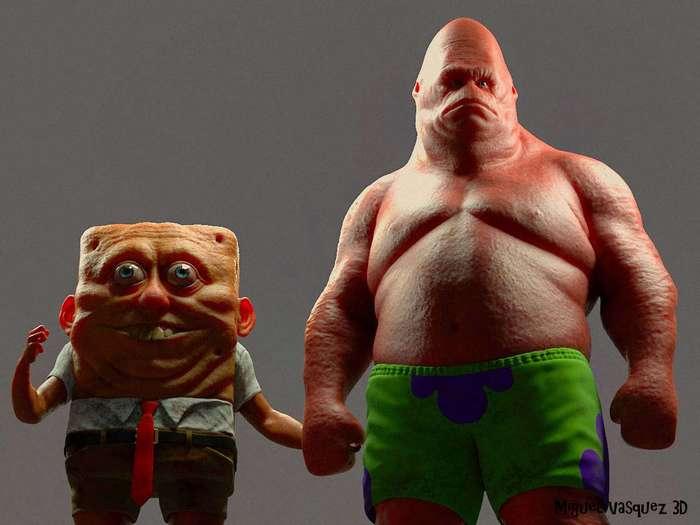 Реалистичная версия Губки Боб и Патрика (10 фото)