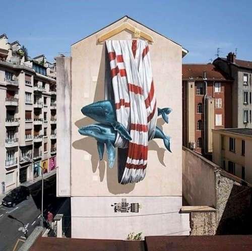 Впечатляющий стрит-арт с 3D-эффектом (12 фото)