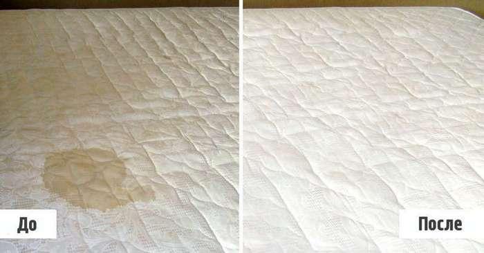 Не спешите выбрасывать матрац из-за пятен: всё легко очищается (1 фото)