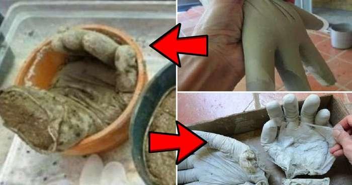 Вот зачем мужчина стал заполнять резиновые перчатки раствором (7 фото)