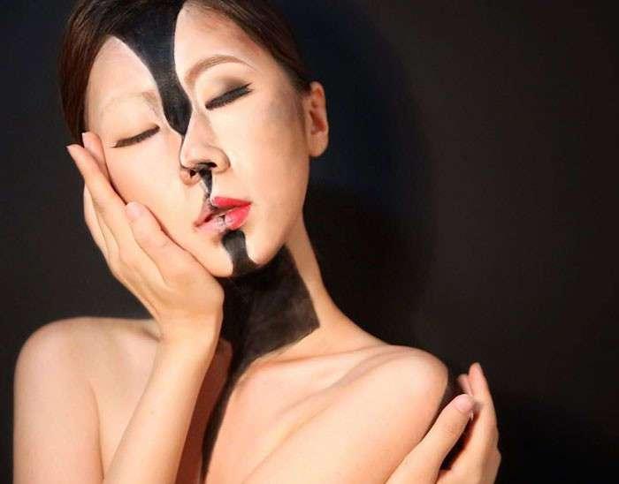 Лицо, которому нельзя верить: кореянка создает оптические иллюзии на собственном теле (23 фото)