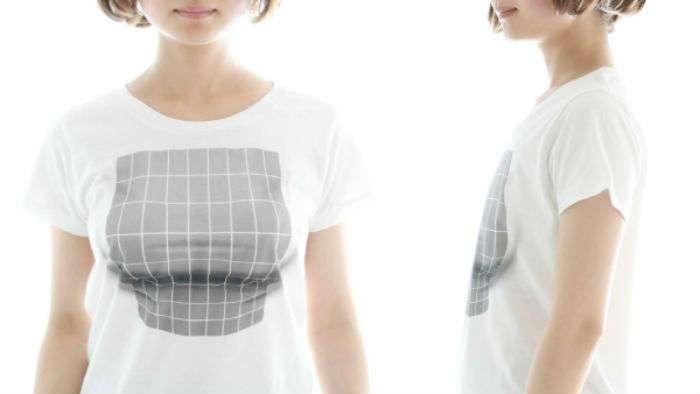 Футболка с оптической иллюзией создает грудь из ничего