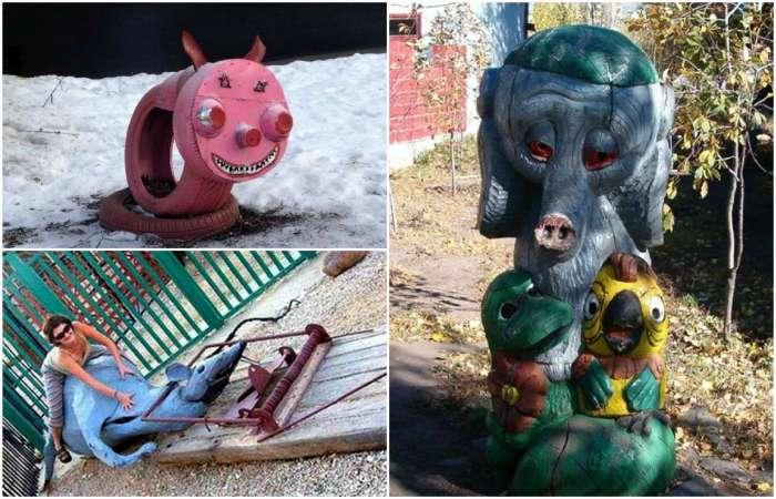 18 странных скульптур на детских площадках, которые невозможно забыть