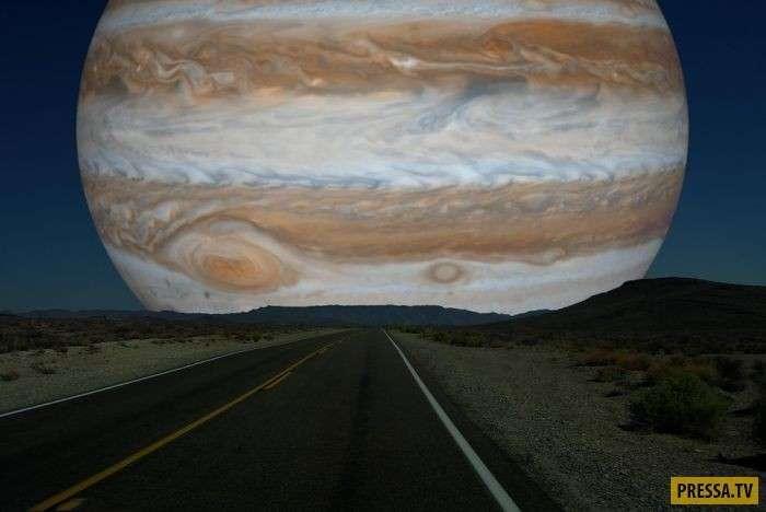 Небо над головой, если луну заменить на другие планеты Солнечной системы (7 фото)