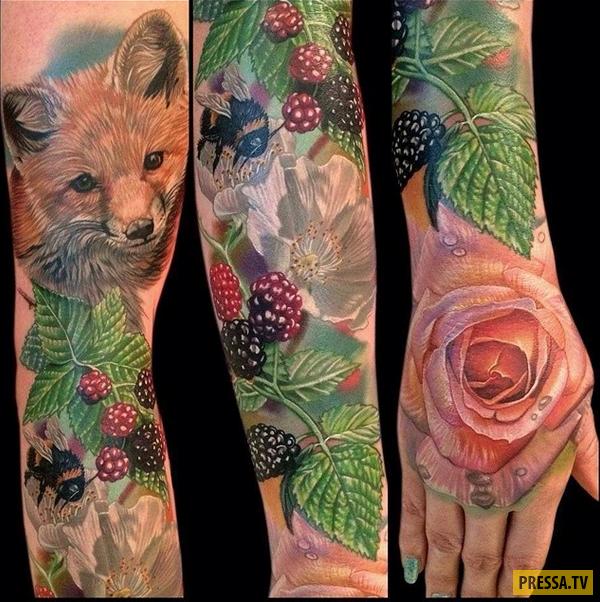 Невероятные тату, напоминающие картины художников (27 фото)