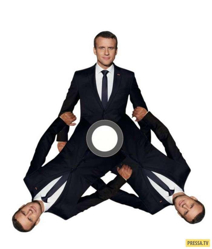 Забавные фотожабы на фотографию французского Президента Эммануэля Макрона (14 фото)