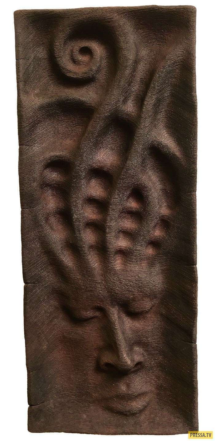 Деревянные скульптуры, навеянные видениями (22 фото)