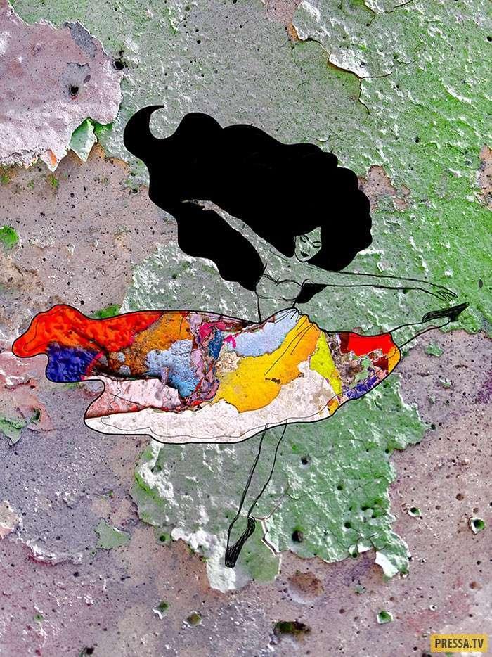 Красивые картины на облезшей краске (13 фото)