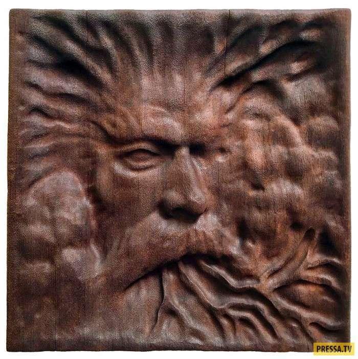 Зубодробительные скульптуры из дерева (9 фото)