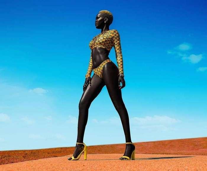 Модель из Южного Судана учит людей не бояться темноты (20 фото)