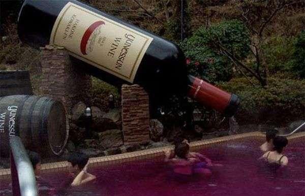 Купание в рисовой водке и красном вине (9 фото)