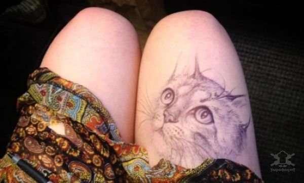 Сверхреалистичные рисунки на женском бедре