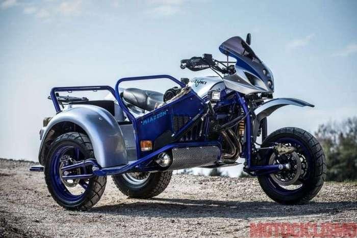 Внедорожный мотоцикл Suzuki с коляской (9 фото)