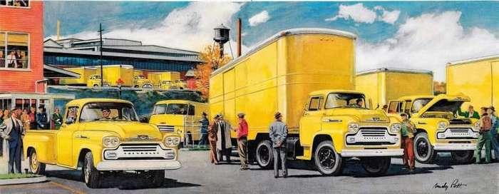 Будни строителей капитализма на рекламных постерах Chevrolet 1950-х (30 фото)