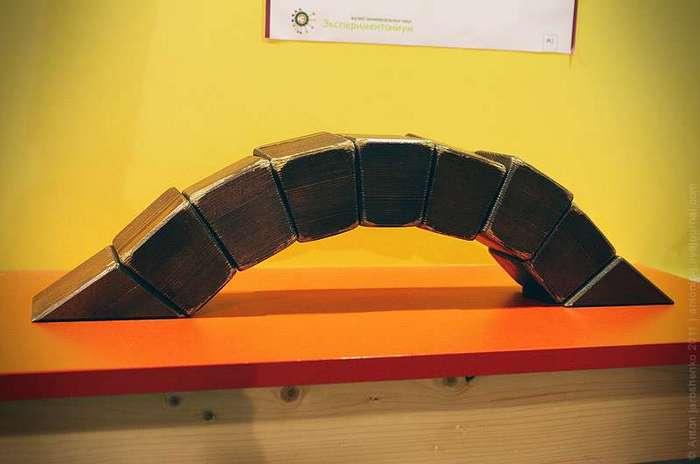Музей -Экспериментаниум- Все экспонаты в музее можно и нужно трогать, пробовать, экспериментировать, смотреть наглядно, как работают принципы механики.<br ><br><br ><br>Этот экспонат демонстрирует происходящие в балочном мосту процессы.