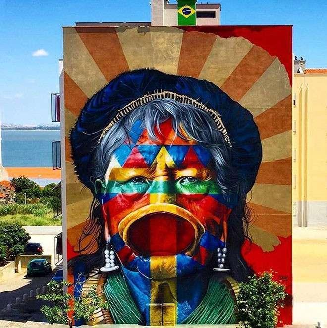 20 крутых работ уличных художников со всего мира <br><br><b> <b>Kobra (Бразилия)</b> </b><br><img class=