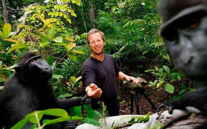 Фотограф разорился, судясь с обезьяной за авторское право <br><br>Фонд Wikimedia принял сторону животного, заявив, что фотография находится в общественном достоянии, поскольку была сделана обезьяной, а не Слейтером. А организация по защите прав животных PETA подала иск против фотографа от имени павиана, чтобы авторское право присвоили самцу Наруто.<br /> <img class=