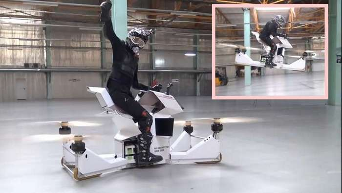 На авиасалоне в Жуковском представлен российский летающий мотоцикл-1 фото-