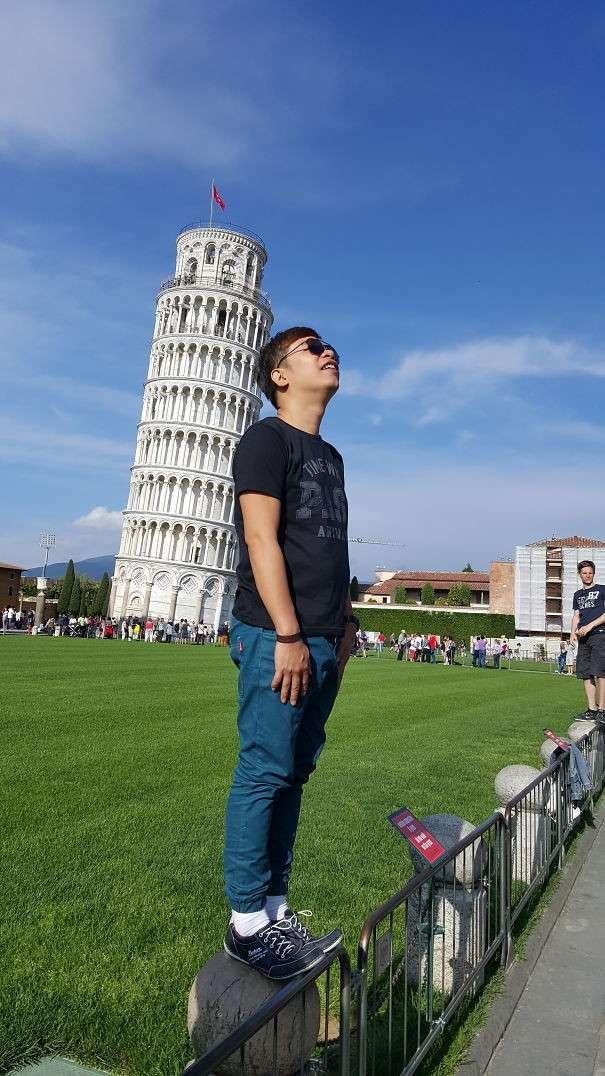 Фото с Пизанской башней: каждый старается, как может!-41 фото-