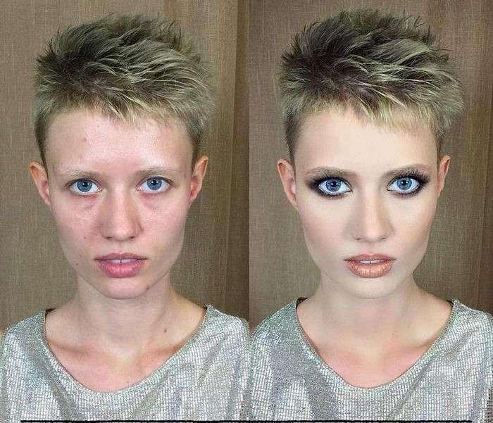 Радикальное преображение женщин при помощи макияжа в стиле 'до и после' от российского визажиста-18 фото-