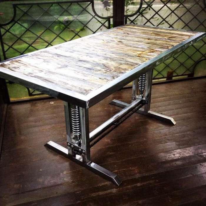 Стол в стиле лофт-13 фото-