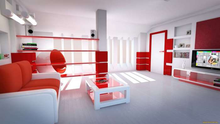 Красный цвет в оформлении интерьеров