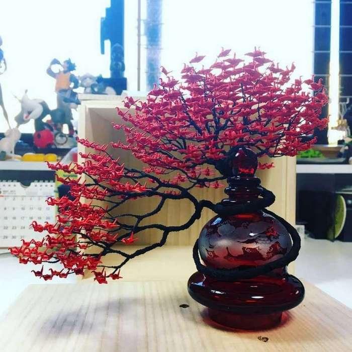 Декоративные деревья с листьями оригами от Наоки Оногава (11 фото)