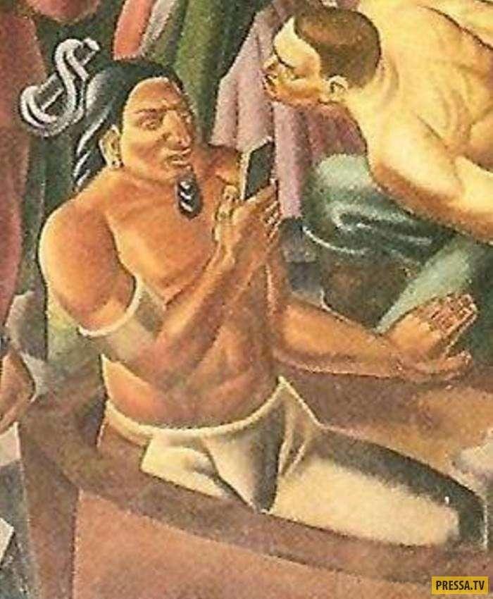 На фреске 1937 года обнаружен смартфон! Путешествия во времени реальны? (4 фото)