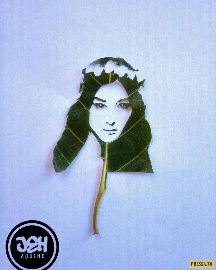 Художник превращает листья в знаменитостей (4 фото)