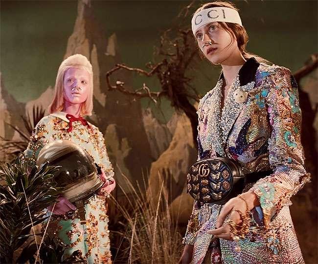 Слишком креативная подача коллекции одежды от Гуччи вдохновленная ретро сай-фай стилем