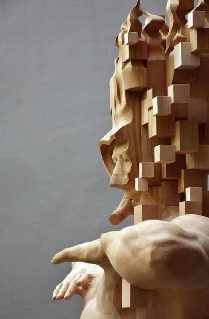 Тайваньский скульптор вырезает пиксельные скульптуры из дерева-9 фото-