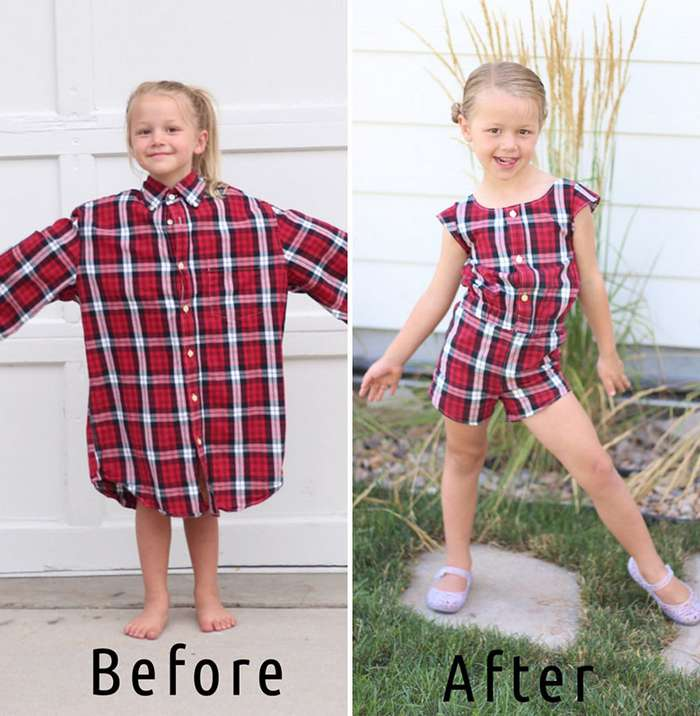 Женщина перешивает старые рубашки мужа, превращая их в удивительные наряды для своих дочерей-11 фото-