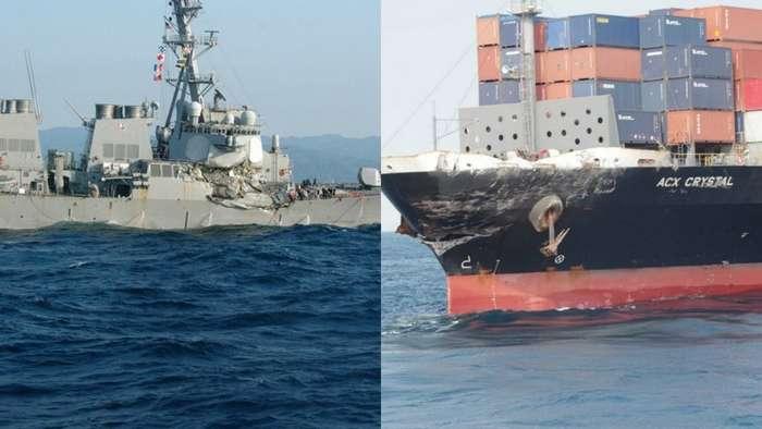 Столкновение эсминца США с контейнеровозом-15 фото-