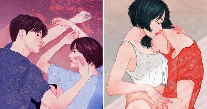 Любовь и нежность в иллюстрациях-22 фото-