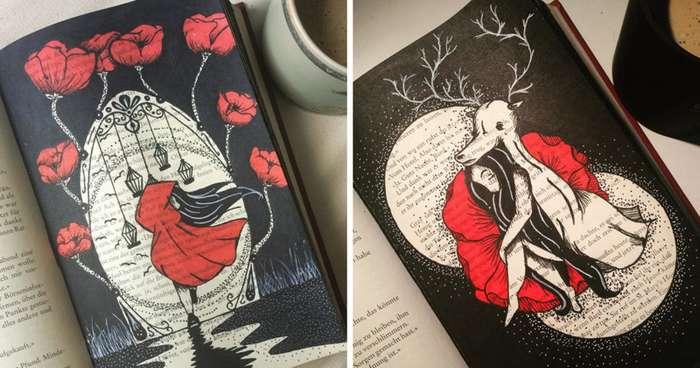 Девушка нашла творческое применение старым книгам-40 фото-