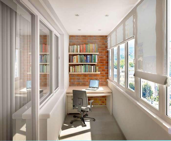 Оформление рабочего кабинета на балконе