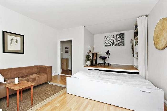 В тесноте, да не в обиде: 15 нестандартных решений планировки однокомнатной квартиры