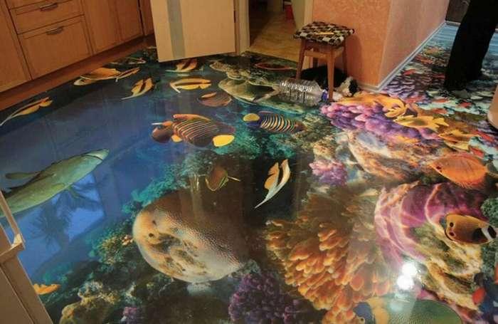 Наливные 3D полы: пределов воображению нет! (37 фото)
