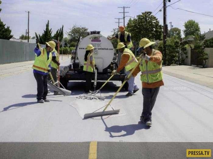 Дороги в Лос-Анджелесе окрашивают в белый цвет (8 фото)