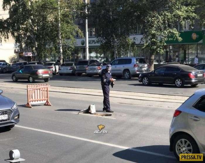 В Новосибирске под колеса КамАЗа попал канализационный люк (3 фото)