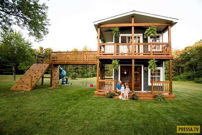 Отец построил двухэтажный дом для дочек и результат удивил их (9 фото)