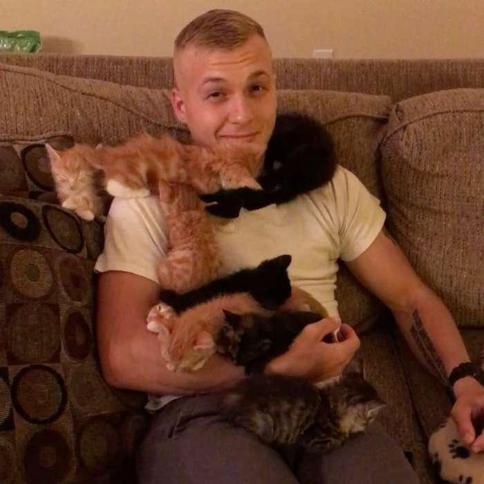 10 спасённых котят укрыли парня своими пушистыми телами-5 фото-