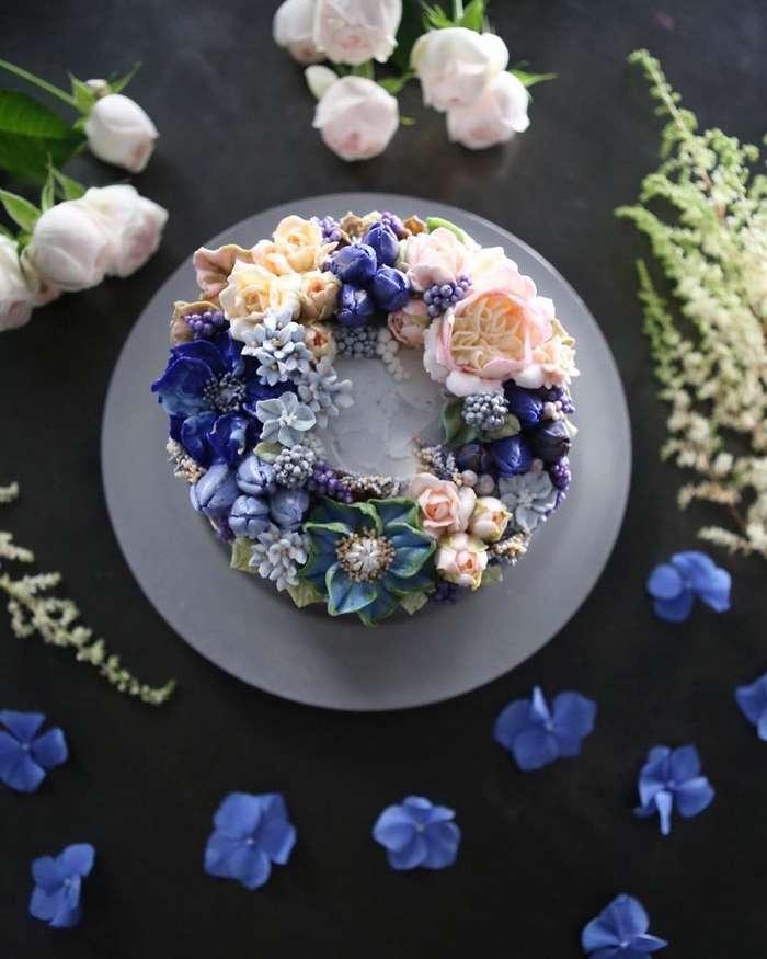 Эти кремовые цветочные торты выглядят слишком красивыми, чтобы их съесть-7 фото-