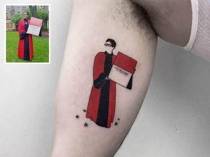 Тату-мастер превращает фото из детства в красивые татуировки-21 фото-