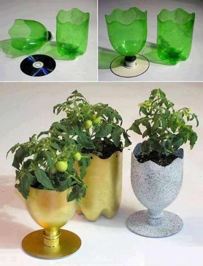 Подставка под цветы своими руками из бутылок 1