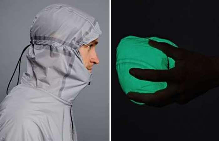 Светящаяся куртка для бега, которая заряжается от солнца и помещается в кармане