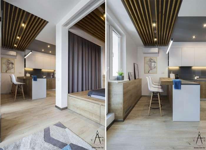 Гостиная, спальня, кабинет и кухня - стильные апартаменты на площади всего 48 кв м