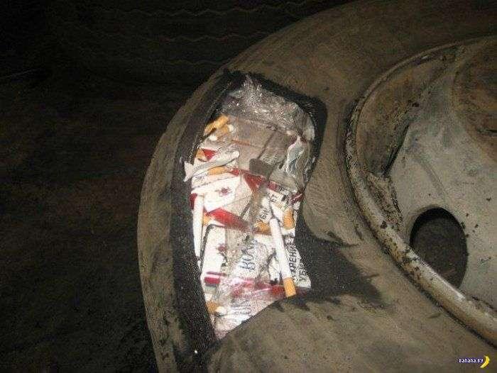 Необычные способа контрабанды сигарет
